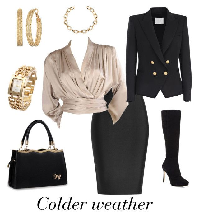 """""""Colder weather"""" by esteadman-1 on Polyvore featuring Roland Mouret, Yves Saint Laurent, Pierre Balmain, Jimmy Choo and GUESS"""