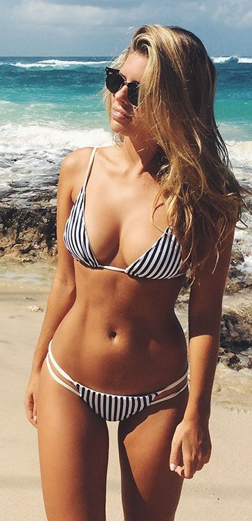 A Bikini A Day Black And White Stripe Strappy Bikini by Stylista