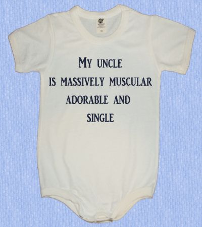 Funny onesies for baby my muscular Uncle onesie