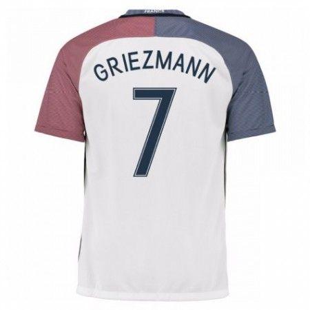 Frankrike 2016 Antoine Griezmann 7 Borte Drakt Kortermet.  http://www.fotballteam.com/frankrike-2016-antoine-griezmann-7-borte-drakt-kortermet.  #fotballdrakter