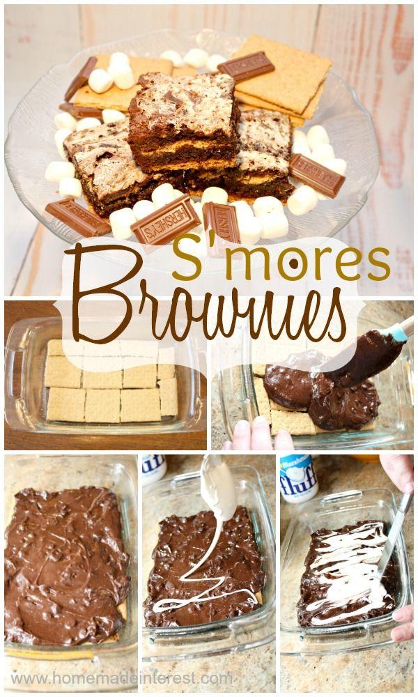 S'mores brownie recipe {www.homemadeinterest.com}