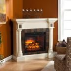 Genesee 44.5 in. W Faux Slate Convertible Infrared Fireplace in Ivory