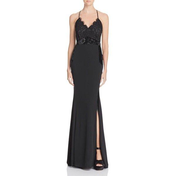 Aqua Velvet & Lace Gown ($168) ❤ liked on Polyvore featuring dresses, gowns, black, aqua blue dress, aqua dresses, aqua evening dresses, velvet evening dress and velvet dress