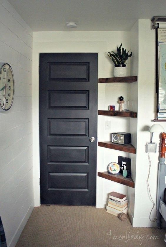 Install a set of corner shelves to transform a small nook into extra storage space.