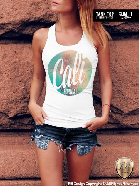 22b4bbeb30 Ladies LA California T-shirt Fresh Summer Beach Tank Top RB Design WD270  This design is available printed on   Women s Crew Neck T-shirt (Slim Fit  Style) ...