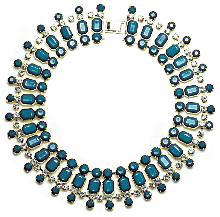Sistaco's Burlesque Teal Diamonte Collar Necklace.  Looking to add a little old fashioned glamour to your outfit? Then Burlesque is the piece for you! This striking collar necklace with diamantes and geometric beads is light weight enough to wear all-night long. It also comes in a variety of bright colours, so there's sure to be one perfect for your occasion. (Available in yellow, coral and white) http://www.byariane.com.au/Sistaco-Burlesque
