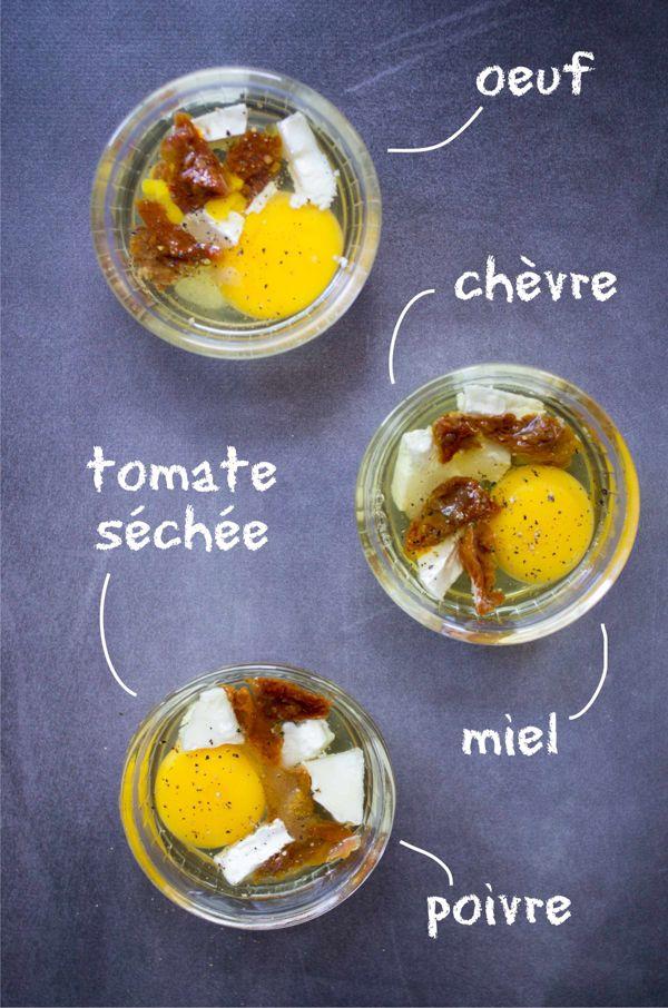 Oeufs cocotte au chèvre et tomates séchées, miel et basilic recette facile et rapide sur la Godiche www.lagodiche.fr
