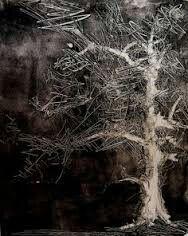 Kunstenaar: April Jordan. Ik vind het zo mooi dat de achtergrond bijna helemaal zwart is en de voorgrond dan een witachtige boom staat, omdat die boom dan erg mooi uitkomt en opvalt.