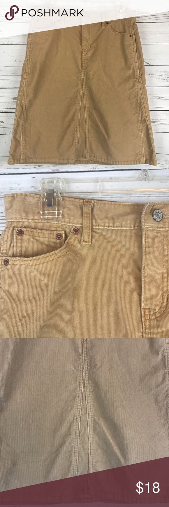 """GAP Skirt corduroy tan knee length career GAP Jeans women's size 6 corduroy knee length skirt. Tan color. Front pockets. Belt loops. Gently used, no flaws.   Measurements while laying flat Waist: 15.5"""" Length: 22""""  C42 GAP Skirts Pencil"""