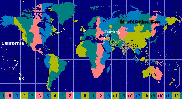 World Time Zone Map All Countries Islands Provinces States