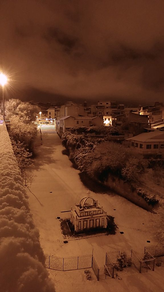 Sassari, province of Sassari, Rosello's Fountain - snow-covered, Sardegna region Italy