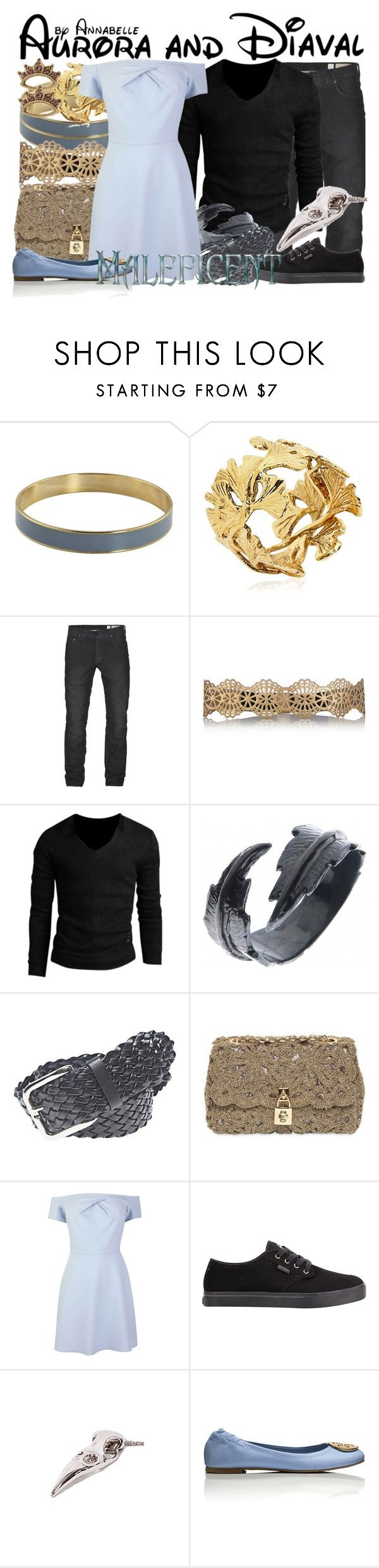 """Aurora and Diaval"" by annabelle-95 ❤ liked on Polyvore featuring Aurélie Bidermann, AllSaints, Oasis, Allegra K, LeiVanKash, Wet Seal, Dolce&Gabbana, Etnies, MDKN and Tory Burch"