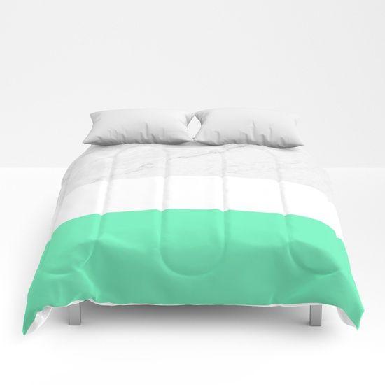 Marble White Mint Comforters by ARTbyJWP #comforters #bedroom #homedecor #mintandwhite #marble ---   Our comforters are cozy, lightweight pieces of sleep heaven. Designs are printed onto 100% microfiber polyester fabric for brilliant images and a soft, premium touch. Lined with fluffy polyfill and available in king, queen and full sizes. Machine washable with cold water gentle cycle and mild detergent.
