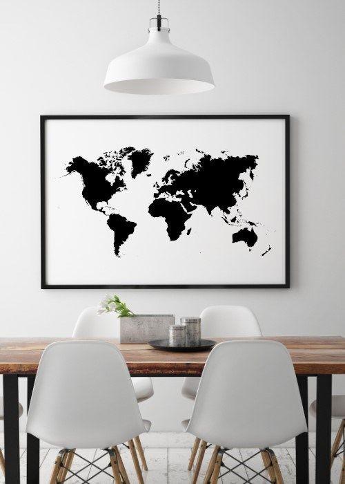 Detaljeret verdenskort - Meget populær plakat
