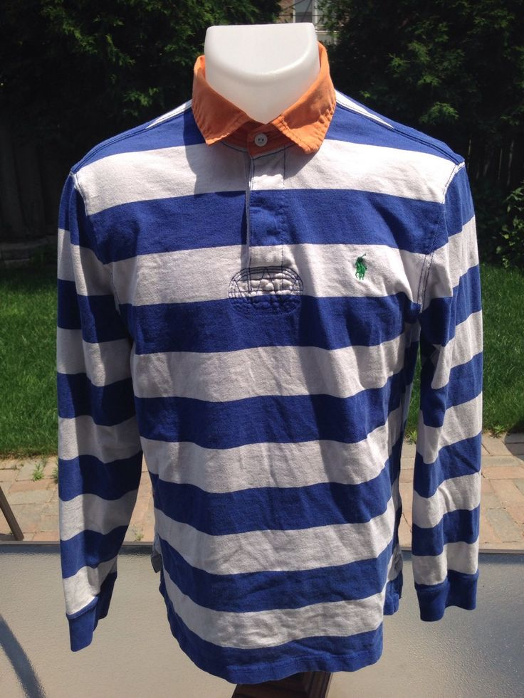 Vintage Blue & White Long Sleeve Polo by Ralph Lauren by MajorDivision on Etsy https://www.etsy.com/listing/239286879/vintage-blue-white-long-sleeve-polo-by