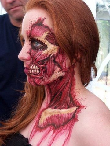"An awesome SFX makeup, reminds me one of the Titans from anime ""Attack On Titan""."