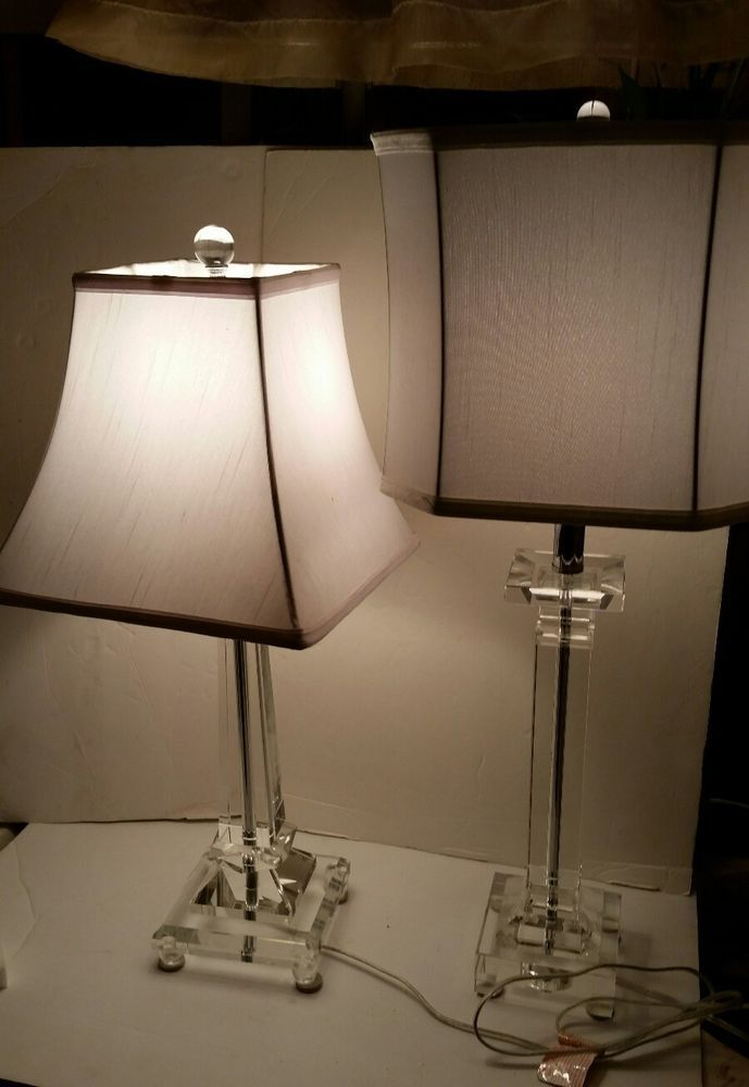 Set of 2 2007 portable luminaire cut crystal table lamps with shades