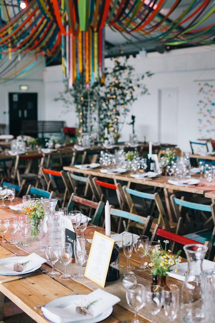 Rustic Trestle Table Settings | Warehouse wedding venue in London | City Wedding | Ribbon Decor | Rime Arodaky wedding dress | Bright yellow and orange Colour scheme | Hobbs Bridesmaid dresses | Images by Robbins Photographic | http://www.rockmywedding.co.uk/yvonne-jimmy/