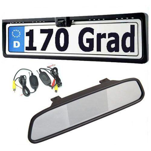 Amzdeal 4.3 pouces LCD Auto rétroviseur+Vision de nuit 170 degrés caméra de recul pour voiture plaque de license recul systeme étanche IP67…