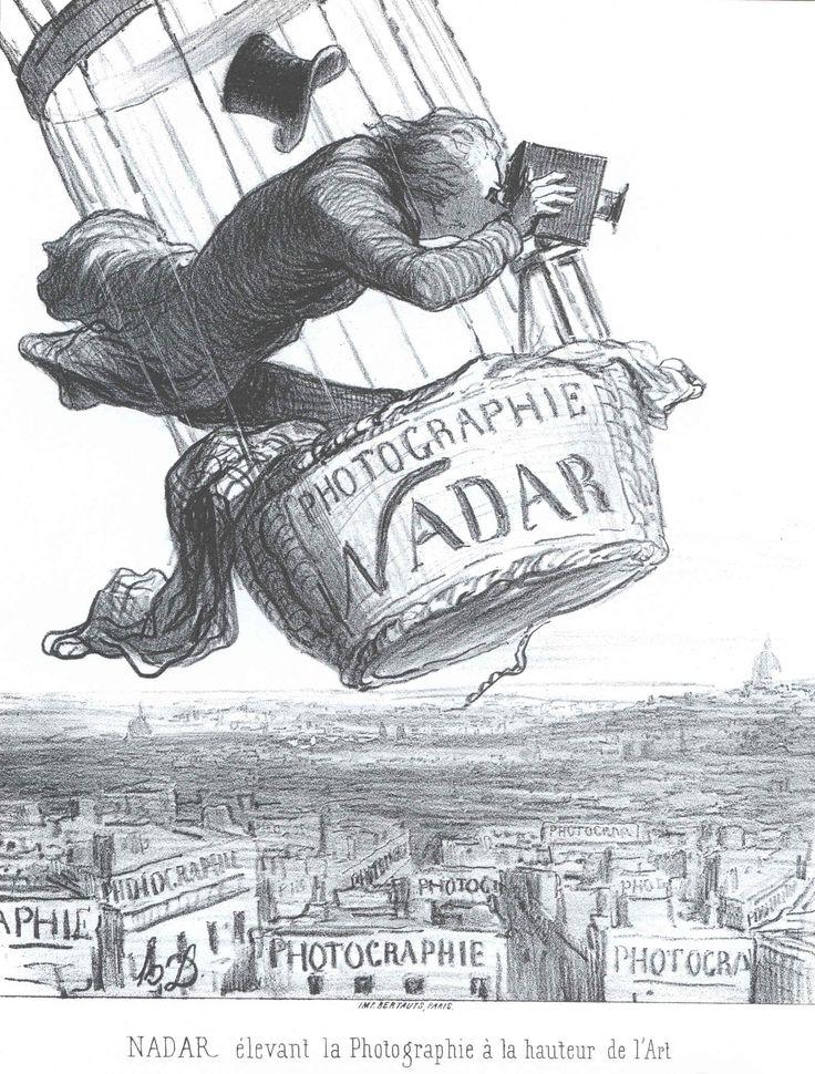 """Gaspard-Félix Tournachon """"Nadar"""" (1820 - 1910) caricaturista, ilustrador y fotógrafo francés.- Honoré Daumier (1808 - 1879)  realizó esta caricatura de Nadar con la leyenda: elevando la pintura a la altura del arte."""