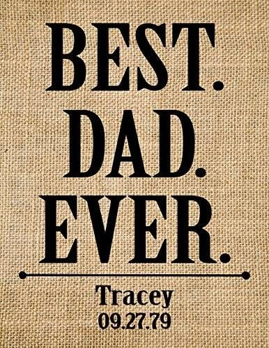 "awesome ""Best Dad Ever"", Personalised burlap print- Gift for Dad, Father's Day Gift, Gift for Him, Gift from kids, father's day print-9C (Frame not included)"
