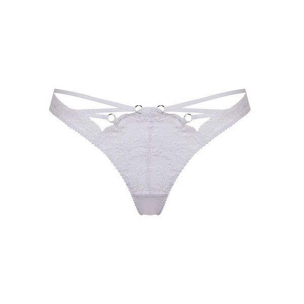 Agent Provocateur Essie Thong White - 2 ($68) ❤ liked on Polyvore featuring intimates, panties, brief, knickers, lingerie, white, bridal lingerie, strappy thong, lacy lingerie and sheer lace lingerie