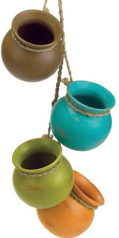 Dangling Mini Pots. Four classic earthtone flower pots hung from jute hanging loops will give the feel of the old Southwest. Ceramic with jute hanger.