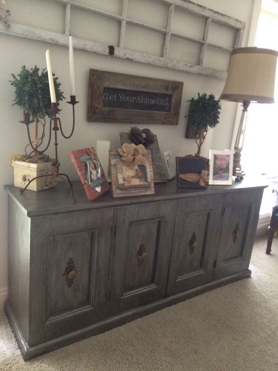 Old Antique Side Bar Dresser Serving Buffet Refinished Grey With A Dark Grey Glaze