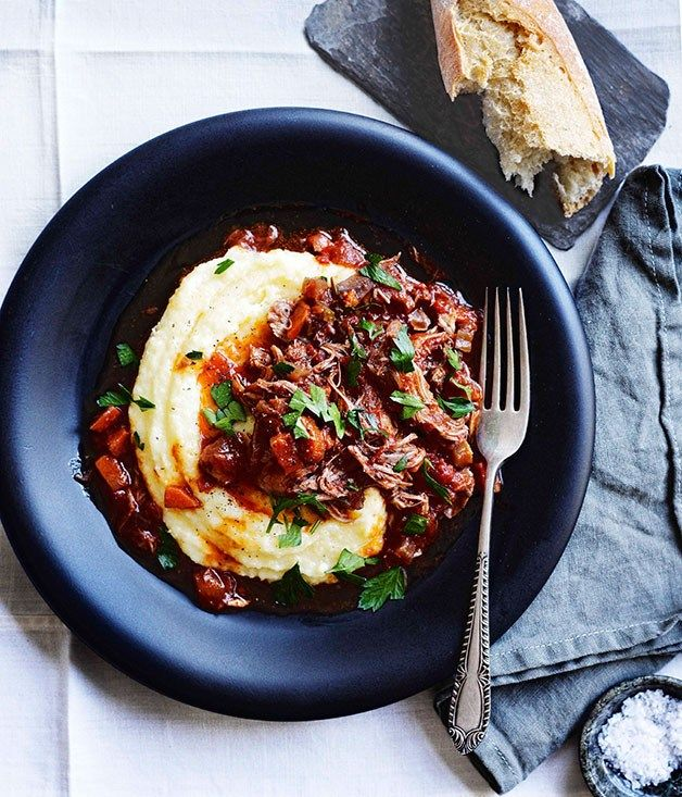 Braised duck, Valpolicella, tomato and rosemary with polenta - Gourmet Traveller