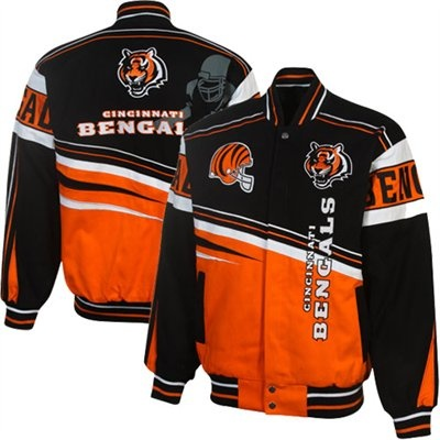 black stitched nfl jersey cincinnati bengals first and ten twill jacket blackorange