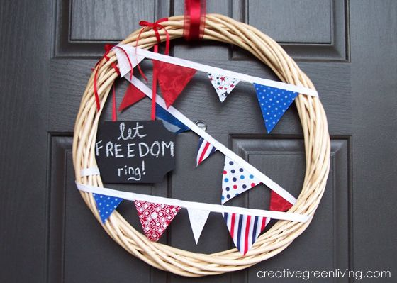 Easy DIY fourth of july pennant wreath