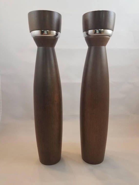 Mid Century Modern Tall Walnut Salt Shaker and Pepper Grinder