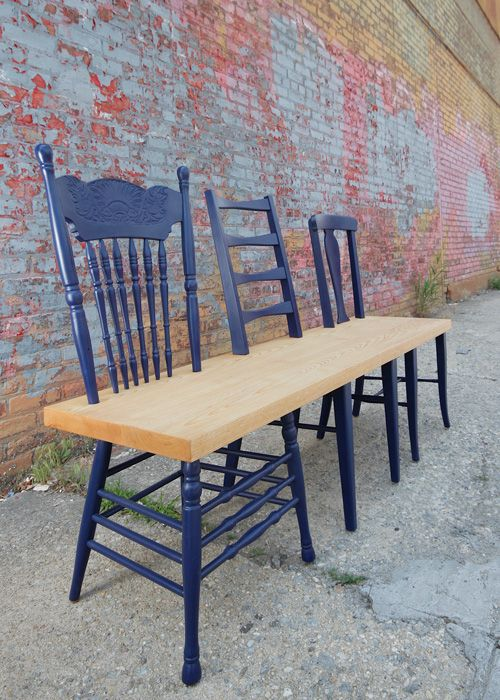 The Greene Ave. bench collection is a project that rescues orphan chairs and upcycles them into a one-of-a-kind bench for your entrance way, dining table or backyard patio. Each bench uses three contrasting chairs from different eras to form a new contemporary piece. Love this!!