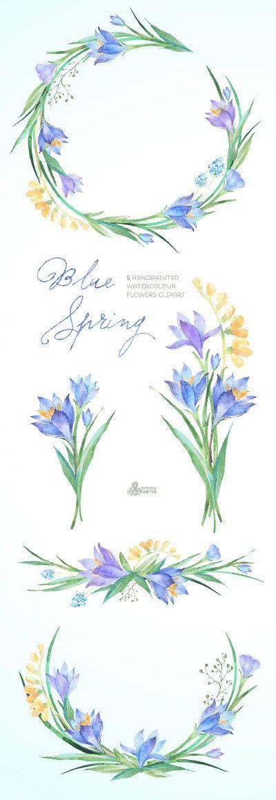 Blaue Feder Aquarell Blumen Clipart. Handpainted von OctopusArtis