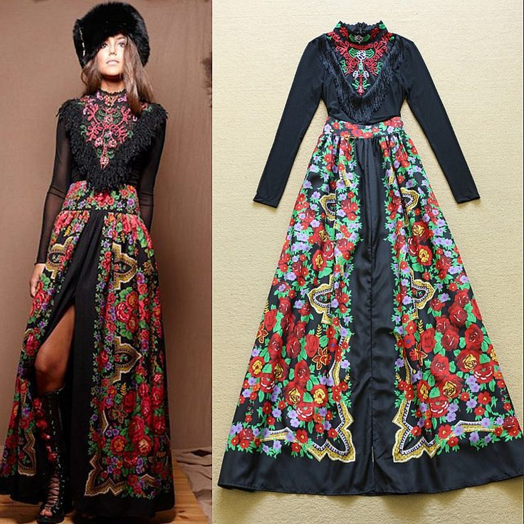 Heavy Embroidered Fringed Collar Dress Stitching Printed Vestidos Elegant 2015 Runway In Europe And America Women Clothes