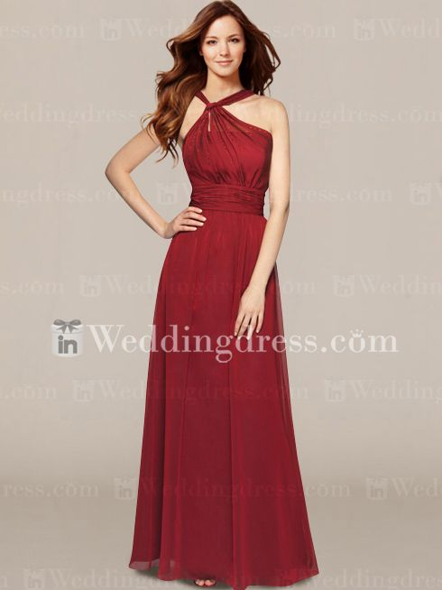 Y neck long bridesmaid dresses egyptian
