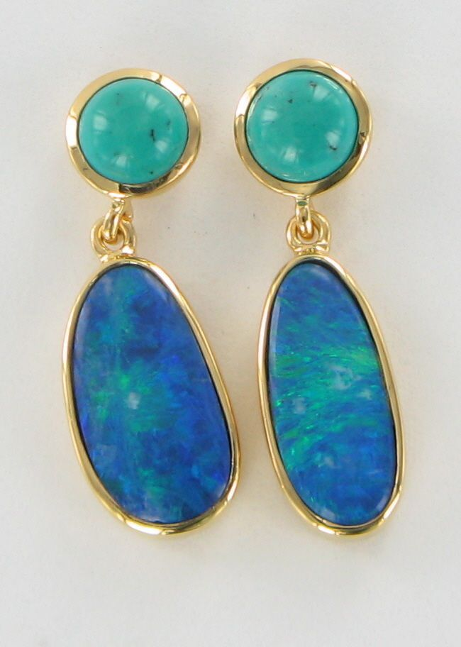 opal turquoise earstud commission
