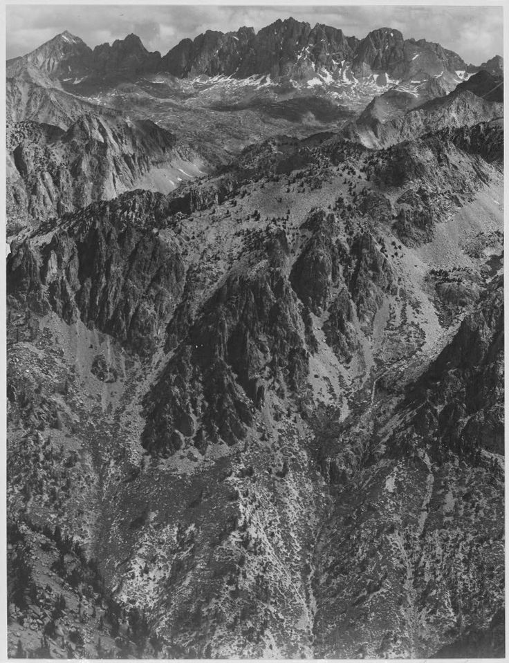 North Palisade, one of the gigantic glacier-carved mountains of Kings Canyon, taken by Ansel Adams.