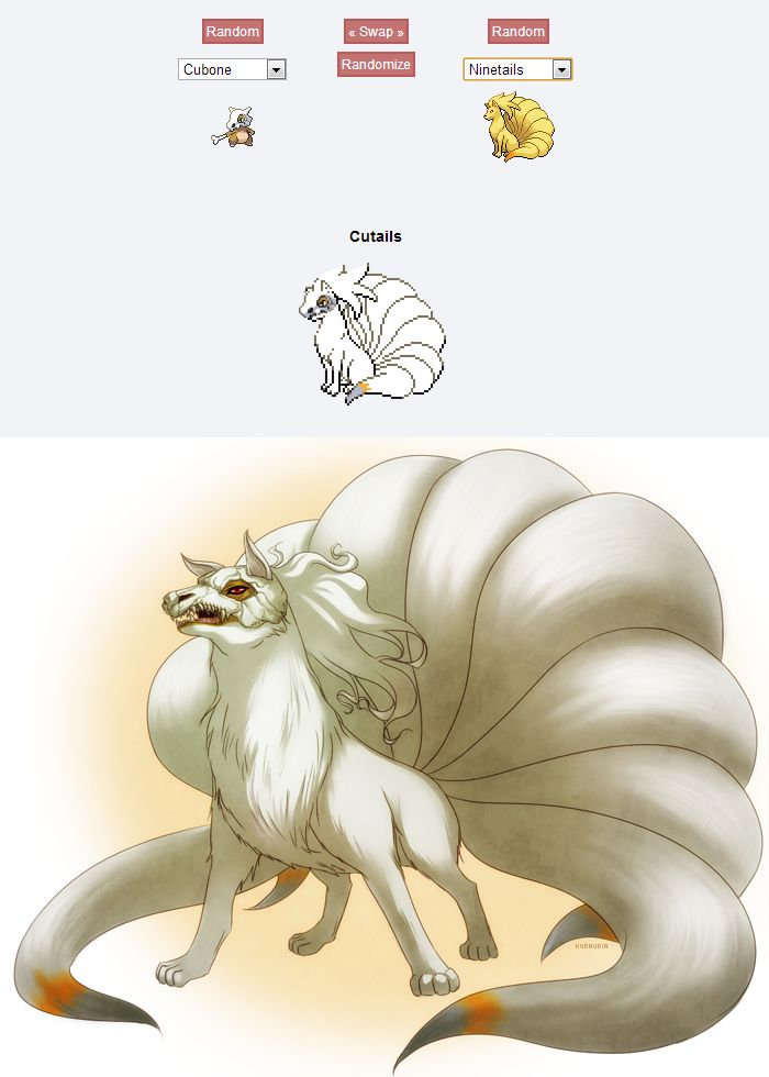 +Pokemon Fusion: Cutails+ by *kuraudia on deviantART. Basically, what I'm getting here is... Ghost from GoT on steroids.