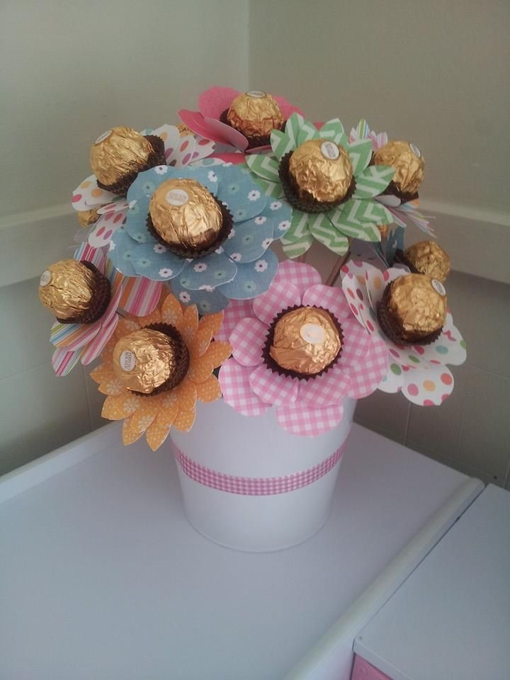 Our ferrero rocher bouquet The kids and I made this for grandmas birthday <3 I'm sure it will be the first of many that we make for gifts!