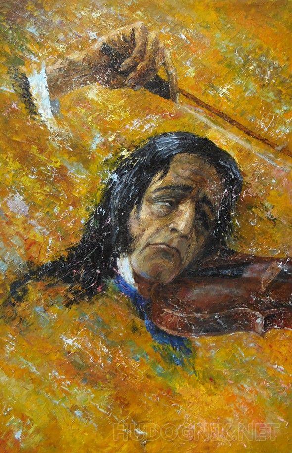 паганини2 портрет на жёлтом фоне