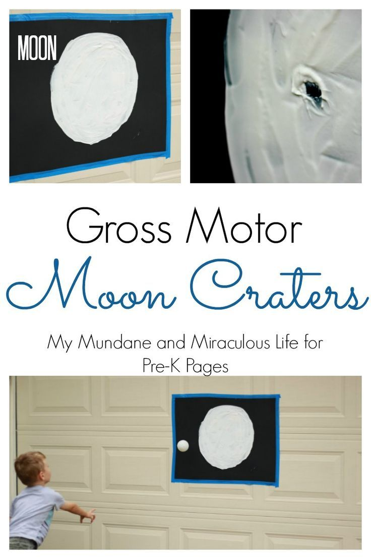 Moon Crater Gross Motor Activity. A super fun activity for learning about craters and the atmosphere for an outer space theme. Perfect for getting your Preschool and Kindergarten kids active and moving while learning! - Pre-K Pages