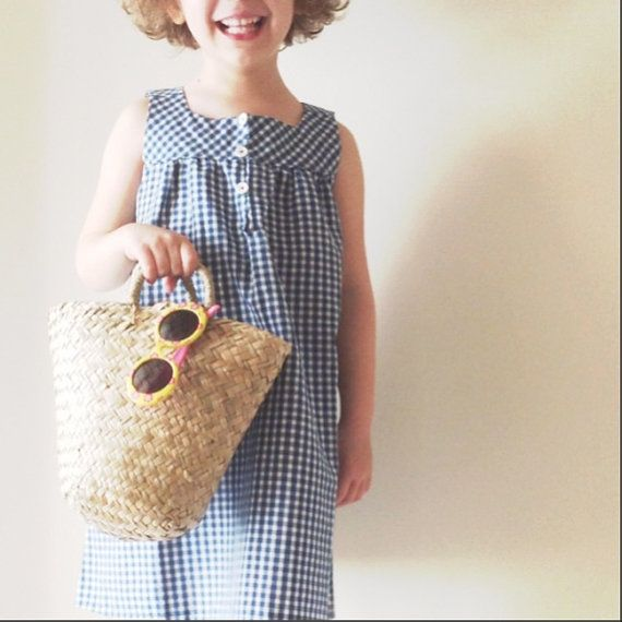 Summer vichy dress for little girls