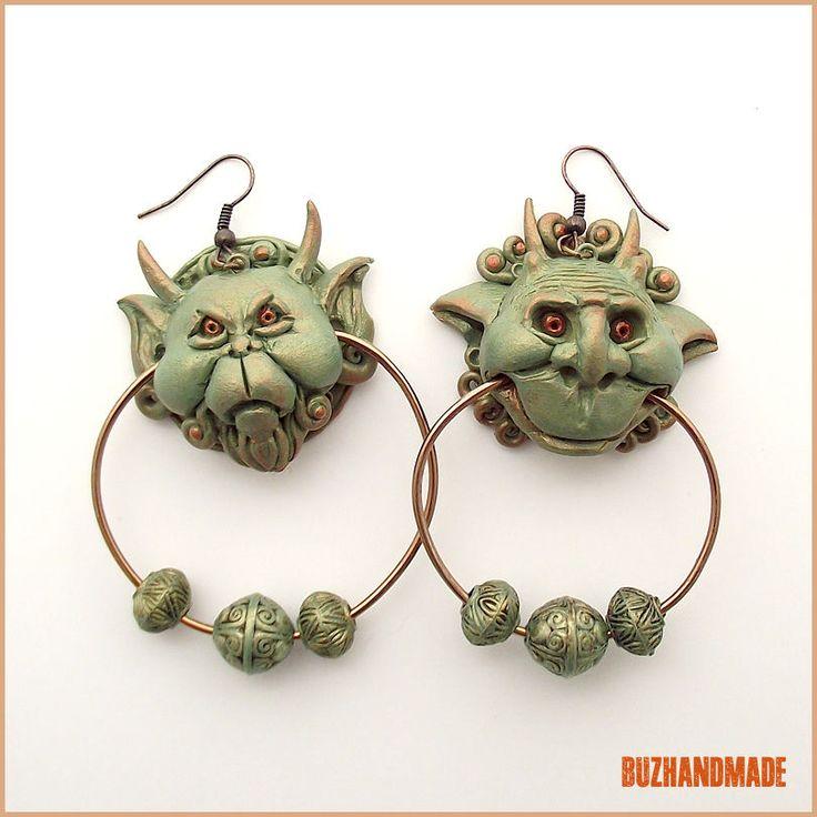 Knocker Earrings   Labyrinth Party   Polymer CLAY   BUZHANDMADE