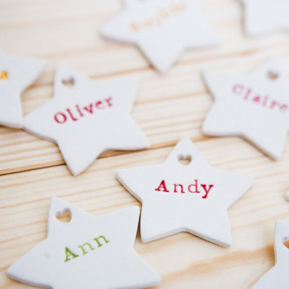 Personalized Christmas Decorations Set of 5 by DianaParkhouse  Family name christmas ornaments  #Personalised #Christmas #Gift #Ornament #Handmade #Ceramic