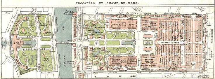 Plan de l'Exposition universelle de 1889 sur le Champ-de-Mars http://gallica.bnf.fr/ark:/12148/bpt6k545549p/f3.item.zoom