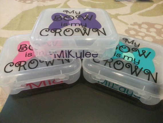 Custom cheer bow travel cases. Perfectly fits your bow & keeps it safe during travels! This is a very popular box for girls traveling or heading to games! Box is about 7.5 x 7. Fits allstar sized bows! Ask about special team pricing. No extra charge for customized boxes for your team $18 plus $5.95 shipping..... is the price worth it you ask? You tell me! Is it worth it if your cheer bow is kept safe and doesnt get squished in the bottom of your bag?!?! Flat rate shipping... once you have...