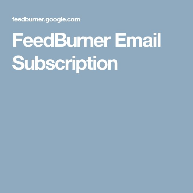 FeedBurner Email Subscription