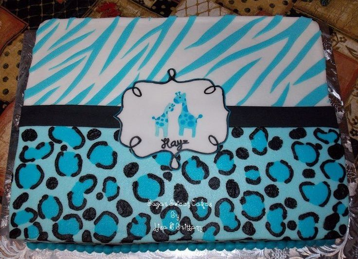 baby blue safari baby shower theme cake