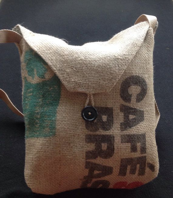 Burlap Purse from Coffee Bean Sack  green lining by StacyBrault, $20.00